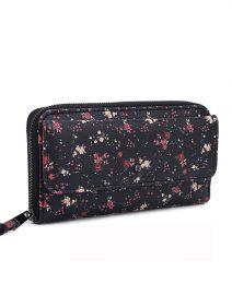 Women's Wallet Clutch - Black Flower