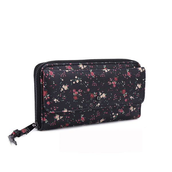 Women's Wallet Clutch - Black Flower